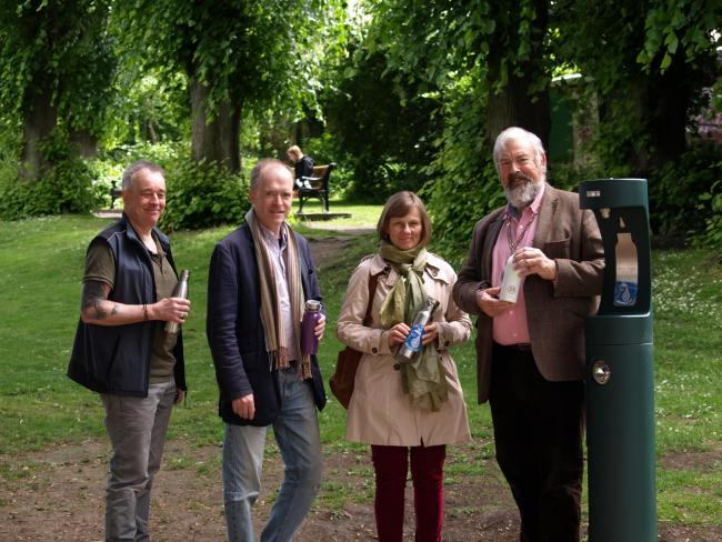 Stroud Town Mayor Kevin Cranston at the launch of the water-bottle filling station in Bank Gardens