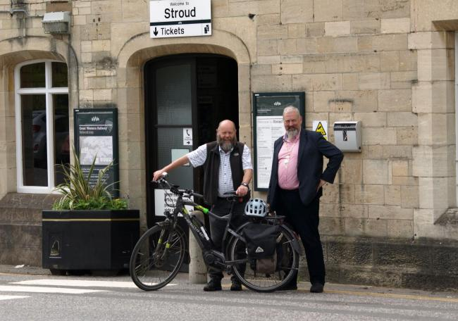 Simon Pickering and Kevin Cranston at Stroud railway station, where the new cycle parking area will be built