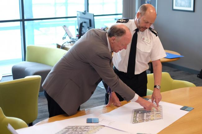 PCC Martin Surl and Chief Constable Rod Hansen looking at plans for the new police academy in Berkeley