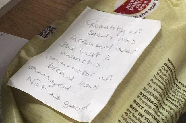 A disgruntled Wairose shopper has hit peak middle class after returning a loaf of bread with a note saying