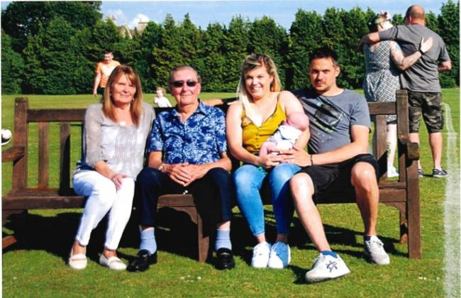 Great-great-grandad Gerald Gardiner with, from left, daughter Sue Burton, great-grand-daughter Rhiannon May who holds great-great-grandson Frankie and grandson Christopher May, July 2019