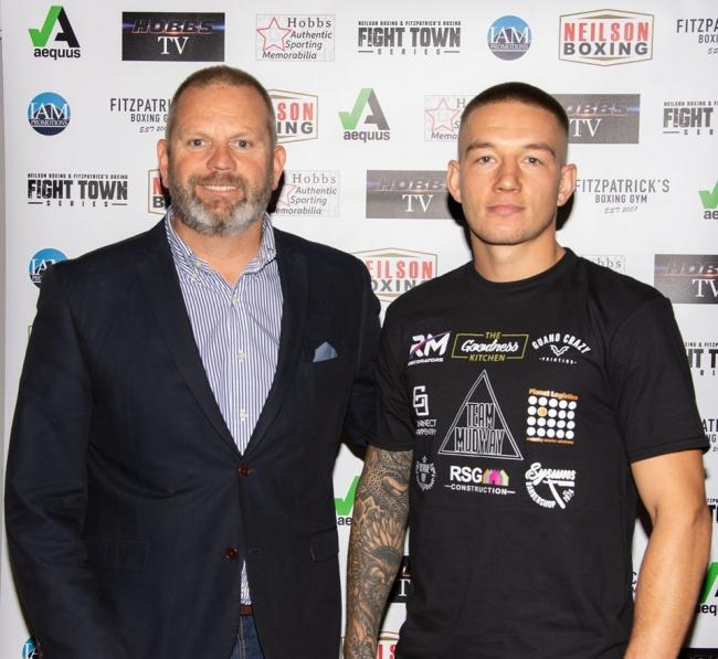 Stroud super-welterweight Max Mudway and promoter Mark Neilson  Pic credit: Mark Page