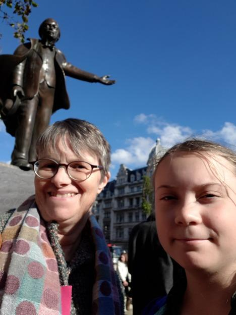 Molly Scott Cato with Greta Thunberg at last year's Extinction Rebellion launch