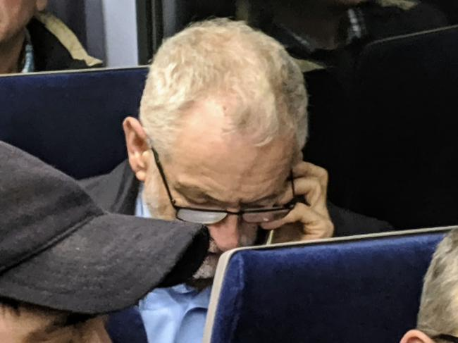 FOREST GREEN football fans were in for a surprise when Labour leader Jeremy Corbyn was spotted on their train journey back to Stroud              Pic: Carl Hewlett