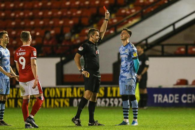 Aaron Collins is sent off in the second-half at Walsall Pic: Shane Healey/ Pro Sports Images
