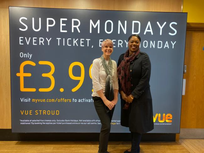 Sue Cobb from the Vue Cinema with Dionne Moore, the Five Valleys Centre Manager