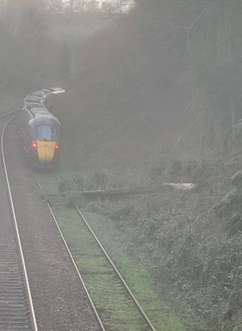 A train was stuck near Cowcombe Hill near Chalford this morning