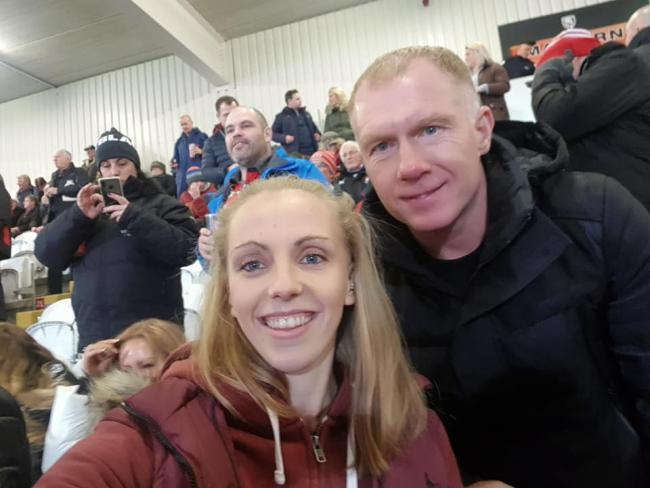 Becki Murray with Man Utd and England legend Paul Scholes
