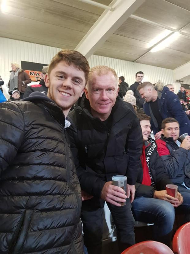 11030974 - Valentine's Day surprise for girlfriend of Shortwood United striker who meets former Manchester United and England star Paul Scholes at Gloucester Rugby's game against Exeter Chiefs