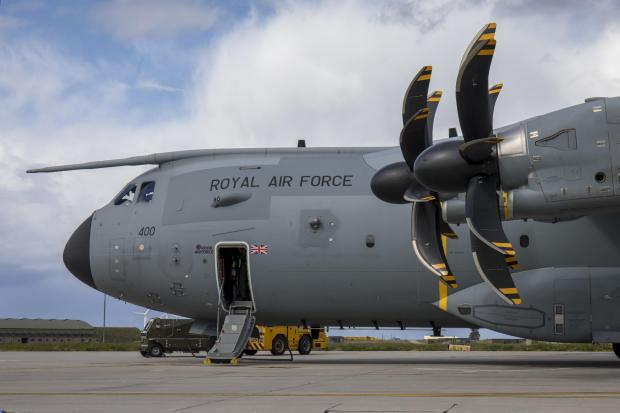 Stroud News and Journal: This is an Airbus A400M Atlas, the type of airfact seen over Glasgow in recent weeks (Image: RAF)
