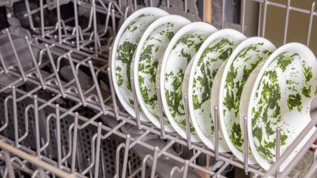 Stroud News and Journal: It's hard for your dishwasher to remove dried-on food—and spinach is the worst. If you can't run a full normal cycle right away, at least start a rinse cycle. Credit: Reviewed / Jonathan Chan