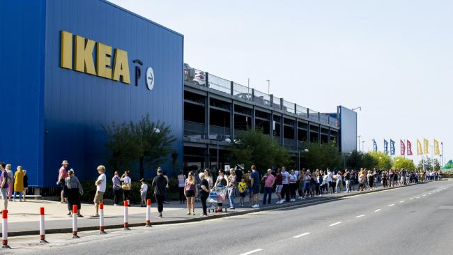 Queues: Hundreds of shoppers queued to get in as Ikea reopened in a number of areas across the UK. Picture: PA Wire