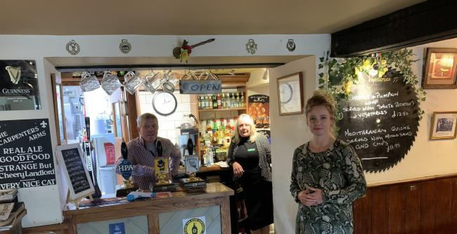 Stroud MP Siobhan Baillie was one of those to venture out to the pub on Saturday. She is pictured her at the Carpenters Arms in Miserden