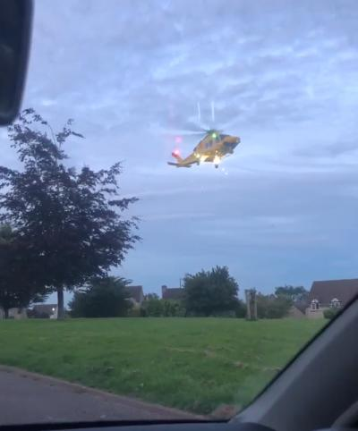 An air ambulance landed at the scene yesterday. Photo by Connor Beard