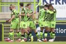 Forest Green celebrate Jake Young's goal Pic: Shane Healey/ Pro Sports mages