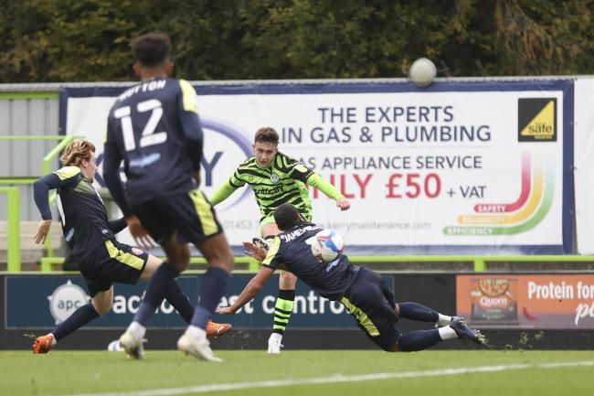 Forest Green Rovers endured a scrappy encounter against Stevenage to claim a one-nil victory at the Innocent New Lawn Stadium thanks to Jake Young  Pic: Shane Healey/ Pro Sports Images