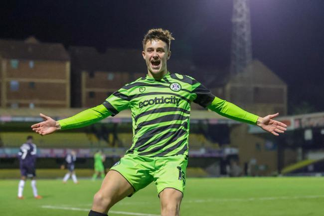 Goal 0-1 Jake Young (18) of Forest Green Rovers scores a goal and celebrates during the EFL Sky Bet League 2 match between Southend United and Forest Green Rovers at Roots Hall, Southend, England on 24 November 2020.