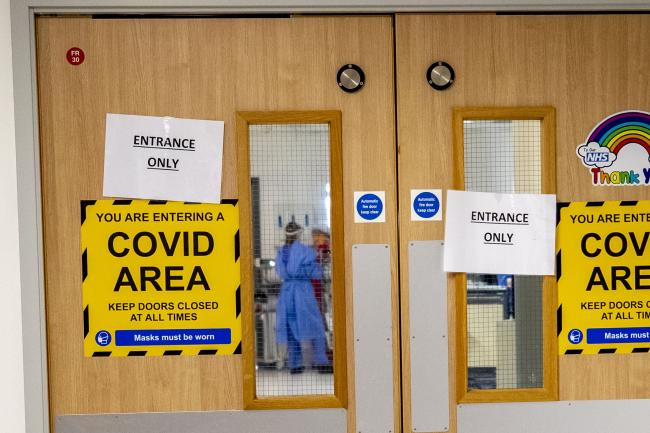 The entrance to one of five Covid-19 wards at Whiston Hospital
