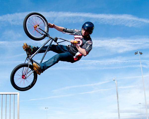 Stroud News and Journal: A member of the Savage Skills freestyle mountain bike stunt team in action. The team will be performing at Tockwith Show on August 5;