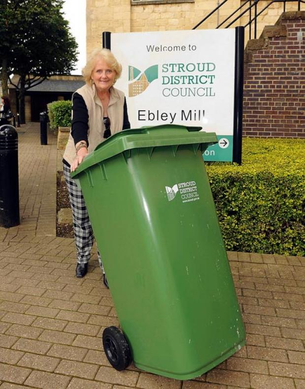 Margaret de Havilland-Hall returning her wheelie bin to Stroud District Council