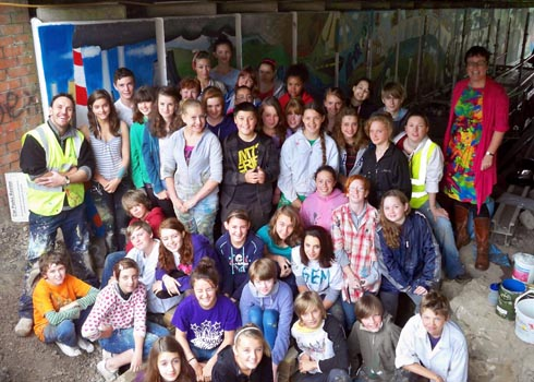Pupils transform Dudbridge underpass with colourful mural