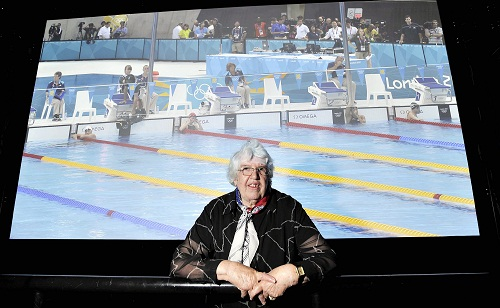 BIG SCREEN: Muriel Hearnshaw, originally from Bradford, who competed in the 1948  London Olympics