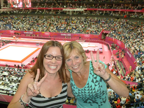 Stroud News and Journal: Linda and Lianne Arnold watching the gymnastics