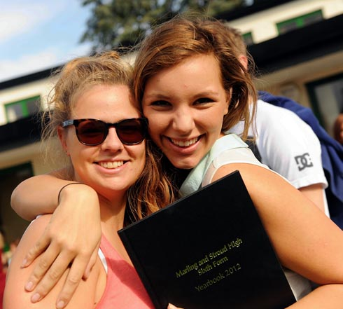 Jess Clarke (left) with friend Grace Cole after receiving their A-level results
