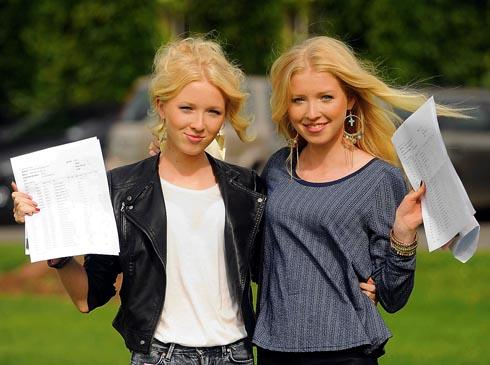 Identical twins Hannah (left) and Phoebe Lowe from Stroud High School with their GCSE results