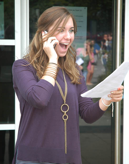 Shocked Thomas Keble School pupil, Alice Pearce calling her mum after opening her GCSE results