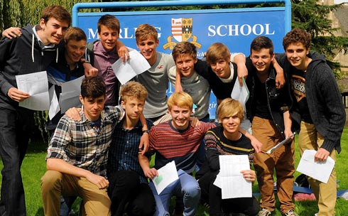 Boys at Marling School after getting their GCSE results on Thursday morning