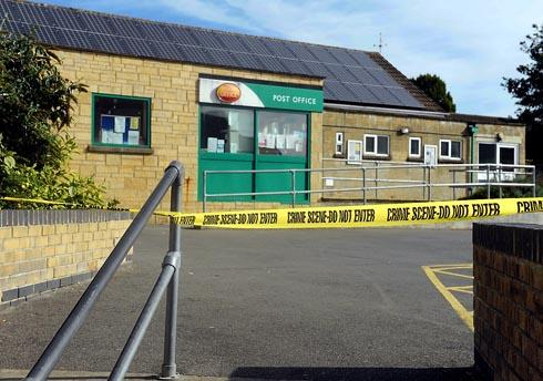 Police tape around Paganhill Post Office following a suspected armed robbery at the store this morning, Monday, September 17
