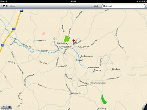 Stroud is missing from the new Apple map software released on Thursday