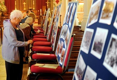 Visitors looking at displays at St Matthew's Church on Saturday
