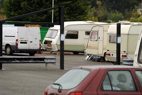 Caravans parked in the car park in Cainscross