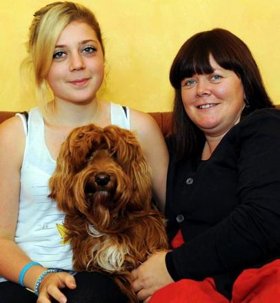 Lucy Garden (right) and her daughter Maizie, 16, reunited with RocketDog