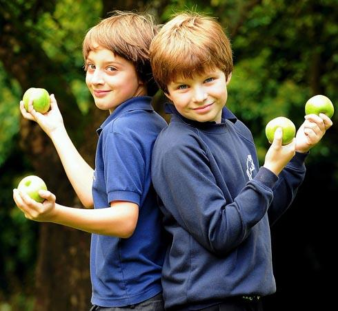 Stroud News and Journal: Lewis Tibbles (left) and Edward Wheeler, both 10, in the Sheepscombe Primary School orchard during the apple day