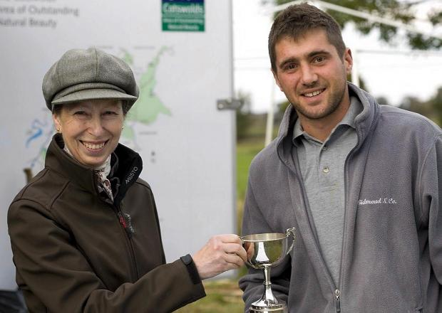 HRH the Princess Royal presenting dry stone waller Alistair Bidmead with his trophy