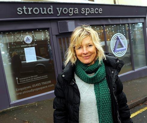 Yoga teacher Rachel Mellish outside Stroud Yoga Space in Nelson Street