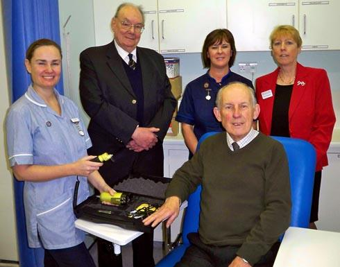 Registered nurse Julien Standing, president of the Stroud Hospitals League of Friends Dr Roy Lamb, team manager for surgical and outpatients department Helen Acock, chairman of the League of Friends David Miller and administrator Susan Strongitharm