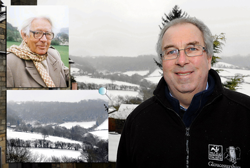 Gordon McGlone, chief executive of Gloucestershire Wildlife Trust pictured in Slad with Trantershill on the opposite side of the valley and Laurie Lee (inset)