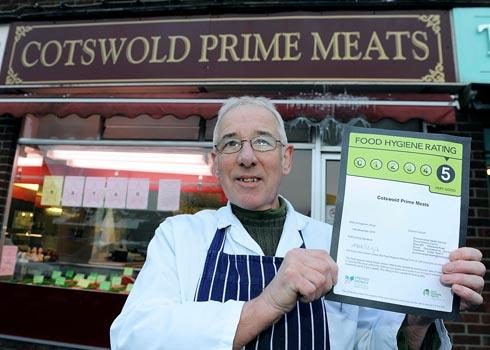 Peter Hanley, owner of Cotswold Prime Meats in Stonehouse, with his five star certificate for food hygiene