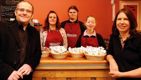 At the new Halfway House Cafe are (l-r) Jake Lukas, chief executive of the Novalis Trust, Sarah Day, trading manager, Rico Lane, sixth form student, Lucy Neil, Year 11 student, and Maureen Smith, headteacher