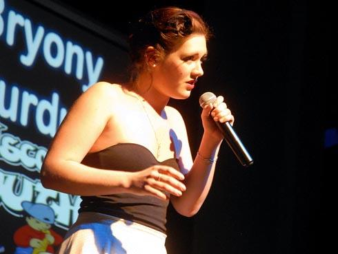 Overall winner Bryony Perdue performing at the Undiscovered Youth Talent Contest
