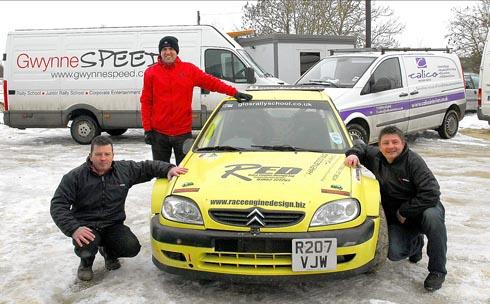 Andy Gwynne (driver below left) and Duncan Roberts, sales manager from  sponsor Calico Interiors (top left) and  Mark Watkins