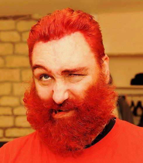 Crockett has had his hair and beard dyed bright red to celebrate the start of National Heart Month for the British Heart Foundation