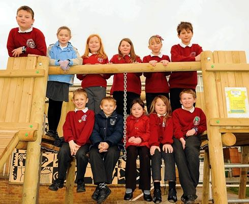 Cashes Green Primary School Council on the new play fort which was installed in their playground