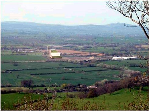 A to-scale view of the proposed Javelin Park incinerator from Haresfield Beacon. The image was produced by Haresfield resident and architect Humphrey Cook