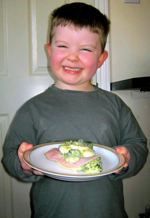 Barnaby Reid, seven, with his recipe Eggs Barnaby, which will feature on ITV's Food Glorious Food later this month
