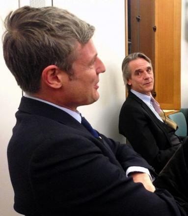 Conservative MP Zac Goldsmith and actor Jeremy Irons at the screening of waste documentary Trashed, which was shown in Portcullis House next to the House of Commons in London last week